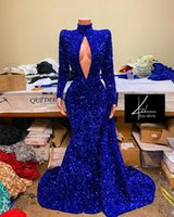 Arabic Aso Ebi Evening Pageant Dresses 2021 Real Image Royal Blue Sparkly Sexy High Neck Long Sleeve Black Girl African Prom Dress wear
