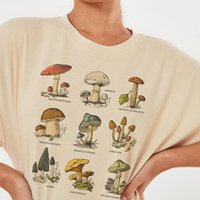 Women's T-Shirt Vintage Fashion Mushroom Print Oversized T Shirt Egirl Grunge Aesthetic Streetwear Graphic Tees Women T-shirts Cute Tops Clo