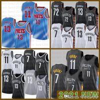 2021 Nova Jersey Basquete BrooklynNet Mens Kevin James 13 Harden 7 Durant Kyrie 72 Biggie 11 Irving Bege