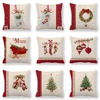 Christmas Decoration Cushion Cover Santa Claus Sofa Pillowcase Holiday Decorations Linen Pillowcases 45cmx45cm