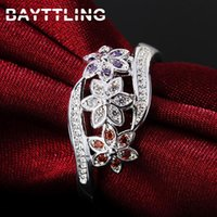 Cluster Rings BAYTTLING 925 Sterling Silver Color Zircon Ring 7# 8# 9# Luxury Flower For Woman Fashion Wedding Jewelry Gift