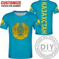كازاخستان تي شيرت ديي الحرة مخصص اسم الاسم Kaz تي شيرت الأمة العلم KZ الروسية كازاخستانية كلية كلية طباعة الملابس X0602