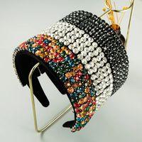 Handmade Luxurious White Full Crystal Beaded Baroque Headband Rhinestone Hairbands For Women Wedding Charming Hair Accessories