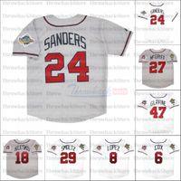 Retro Baseball 1992 1995 e 1999 Home Jersey 10 Chipper Jones 24 Deion Sanders 27 Fred McGriff