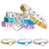 Glitter Laser Heart Choker PU Cuero Ajustable Hebilla Remache Collar Collar para Mujeres Moda Cadena de clavícula