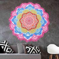 Colgante de impresión poligonal Bola de borla Bañera Round Bath Yoga Mat Lotus Colorido Playa Toalla Manta Manta Manta GPYI
