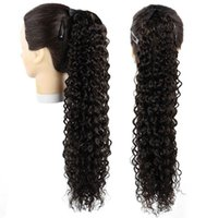 Synthetic Wigs Clip In Wrap Around Ponytail Jerry Curly String Strap Hair 22Inch140g Black Brown Ombre Color Heat Resistant Daily Use