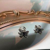 Hoop & Huggie U-Magical Stylish Vintage Metallic Butterfly Earrings For Women Hiphop Harajuku Silver Color Earring Jewelry Pendientes