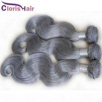 Pure Silver Grey Weave Malesian Virgin Body Wave Head Capelli 3 Bundles Offerte Deals Cuticle Allineata Azzurra Wavy Capelli Umani Estensioni Gray Grey Weft in vendita