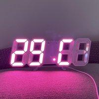 Diğer Saatler Aksesuarları Tarih Sıcaklığı Otomatik Aydınlatmalı Masa Masaüstü Ev Dekorasyon Standı Toptan LED Dijital Duvar Saati AL