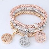 3pcs / set cristallo albero della vita mais catena braccialetto braccialetto elastico braccialetto fine signore fascino moda gioielli gioielli regalo