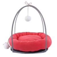 Cat Beds & Furniture Soft Plush Nest Pet Bed Pad Egg Tart Pattern House Toy Rack