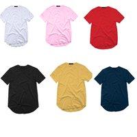 Camiseta para hombre Camiseta extendida de la calle STYLET-shirt Ropa de los hombres Hemblado curvado Hemblor Línea larga Tops Tees Hip Hop Urban Blank Basic T Shirts
