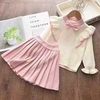 Clothing Sets Keelorn Girls Winter Clothes Set Long Sleeve Sweater Shirt Skirt 2 Pcs Suit Bow Baby Outfits For Kids