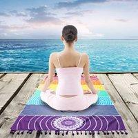 Toalla ToDIO 7 Chakra Rainbow Stripes Playa para adultos Mandala Manta Microfibra Rectángulo Bohemio Tapicería Yoga Mats 75x150