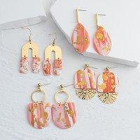 Dangle Chandelier Aensoa 2021 한국 패션 수제 폴리머 점토 금속 귀걸이 기하학적 드롭 펜던트 독특한 디자인 핑크 색상