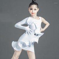 Abiti da ballo latino Bambini Bianco Moda Single Single Sleeve Performance Abiti Tango Rumba CHA Samba Competizione Abbigliamento Bambini DN60071