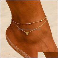 Fußklets Schmucksanklets Mode Sommer Strand Frauen Herz Barfuß Häkeln Sandalen Fuß Schmuck Zwei Ebenen Beine Armband Geschenk1 Tropfen Lieferung 20