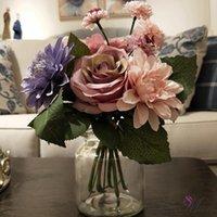 الحرير زهرة الزفاف الورود dahlias الزهور الاصطناعية الخريف أوراق الزفاف الزخرفية هدية مربع الزخرفية