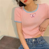 Kawaii Clothes Korean Fashion Tops Women Clothing T Shirt Streetwear Butterfly Print Short Sleeve T-Shirt Summer Women's