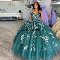 Ball Gown Quinceanera Dresses With 3D Flowers Off Shoulder Sweet 16 Cinderella Dress Vestidos De 15 Años 2022