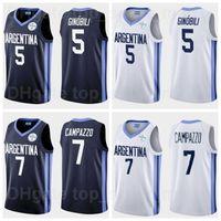 2021 Juegos Olímpicos de Tokio Argentina Jersey de baloncesto 7 Facundo Campazzo 5 Manu GinObili 4 Luis Scola 29 Patricio Garino 14 Gabriel Deck 12 Marcos Delia Man mujer joven