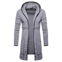 Autumn and winter 2019 New Style Men's long sleeved cardigan hooded solid color men's sweaterWOQP{category}