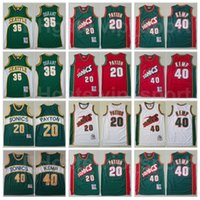 Hombres Baloncesto Mitchell y Ness Kevin Durant Jersey 35 Gary Payton 20 Shawn Kemp 40 Vintage Equipo Color Rojo Blanco Verde Excelente Calidad