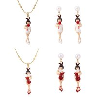 Earrings & Necklace Girl Blowing Bubbles Handmade Enamel Set Ornaments Wholesale Jewelry For Woman Trend