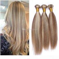 Piano Couleur Cheveux Humains Tissu 8 613 Brown et Blonde Couleur mélangée Bonds de cheveux droite Virgin Péruvien Hair Wefts 3pcs Lot