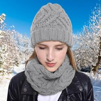 Hats, Scarves & Gloves Sets 2021 Warm Beanies Hat For Girl Ring Scarf Pompoms Winter Hats Knitted Caps 2 Pieces Fashion Set Women