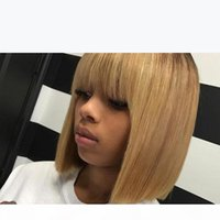 Bob Wig With Bang Ombre 1B 27 Glueless Full Lace Wig With Baby Hair Straight Lace Front Human Hair Wigs For Black Women