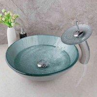 Свежие раковины для ванной комнаты Джейд ручной работы умывальник набор закаленного стекла хромированный полированный смеситель M1TY