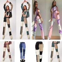 Mujeres Jeans Moda Tendencia Empalme Romada Cintura Alta Pantalones Denim Nalgas Straight Tube Pantalones largos XS-XXL