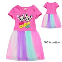 Girl's Dresses Cotton Me Contro Te Rainbow Lace Princess Dress 2021 Kids For Girls Fashion Cartoon Cat Knee-Length Vestidos Robe Enfant
