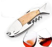 متعددة الوظائف المفتاح النبيذ فتاحة الأسماك شكل النبيذ زجاجة فتح 3d الأسماك الأشكال الخشب مقبض الفتاحات أداة الملحقات CCA6854