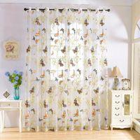Borboleta impresso cortina pura para sala de estar quarto cozinha flor tule janela tratamento voile painéis drapes
