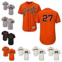 Personalizado retro hombres mujeres juventud sf gigantes jersey # 25 barry bonos 27 juan marichal 29 jeff samardzija naranja gris blanco niños niños béisbol