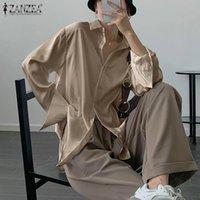 Women's Blouses & Shirts Women Satin ZANZEA 2021 Fashion Autumn Casual Long Sleeve Blusas Female Lapel Button Tunic Lady Office Chemise