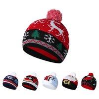 Kids Children Christmas Wool Hats Knitted Beanies Santa Claus Snowman deer Xmas Pompom Skull Caps Cartoon Knit Skiing Outdoor Cap Headwear 6 colors Z4341