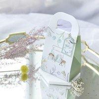 Gift Wrap 60Pcs Romantic Deer Wedding Favors Bags Chocolate Boxes Present Handbag Paper Bag Box Candy 9.4x17.5x5.8cm