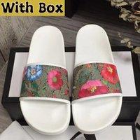 2022 designers deslizam chinelos sapatos verão largo flat flashper de couro borracha flats sandália praia sandálias de luxo marca homens mulheres slide com caixa