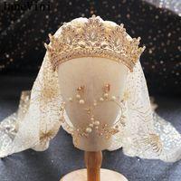 Janevini ouro árabe noiva tiaras e coroas com brincos conjunto strass cristal de cristal cabeça de nupcial jóias mulheres casamento viculos de cabelo BA