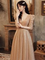Woman Champagne Sequins Evening Dress Elegant V Neck A-Line Floor-Length Tulle Party Formal Gown Ethnic Clothing