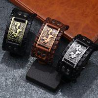 Men's Bangle Genuine Leather Bracelet Men Gothic Punk Cuff Male Wristband Viking Charm Man Jewelry