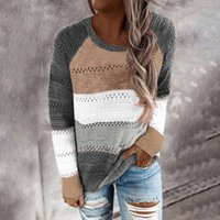 Women Patchwork Sweater Striped Multicolor O-neck Casual Long Sleeve Knitted Soft Clothing Lady Pullovers Sweter Damski