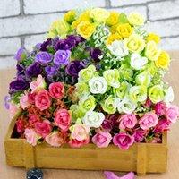 Flor de rosa artificial Ramo de seda Flores Pequeñas Rosas de brotes Simulación Buques Boda Hogar Party Decoración Decorativas Guirnaldas