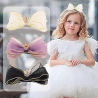 Hair Accessories 3 Layers Organza Bow Hairpin For Children Barrettes Girls Crown Baby Kids