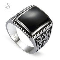 Cluster Rings Eulonvan 925 Sterling Silver Jewelry Male Engagement For Men Black Resin Accessories Gifts S-3807 Size 7 8 9 10 11 12 13