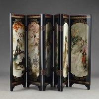 China Lacca Ware Vecchia pittura mano Belle Collectibles Bellezza bella decorazione dello schermo pieghevole